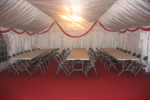 6 x 12 Marquee Fully Lined with Table and Chairs